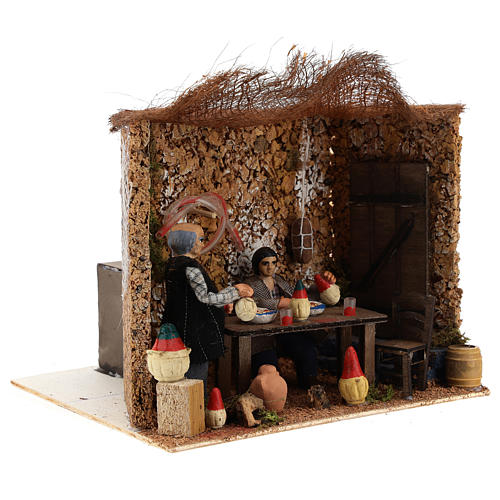 Neapolitan nativity scene moving couple in inn 12 cm 3