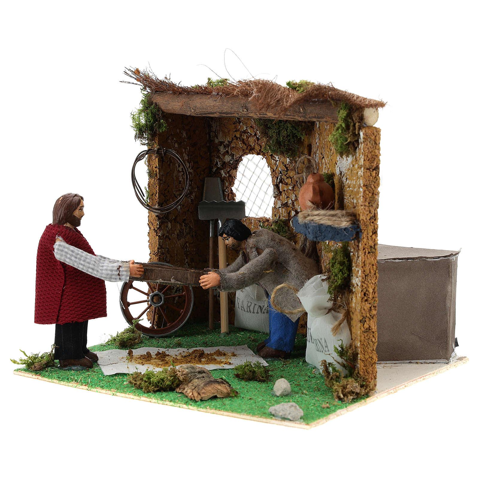 Neapolitan nativity scene farmers sifting with movement 10 cm 4