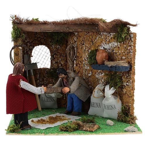 Neapolitan nativity scene farmers sifting with movement 10 cm 1