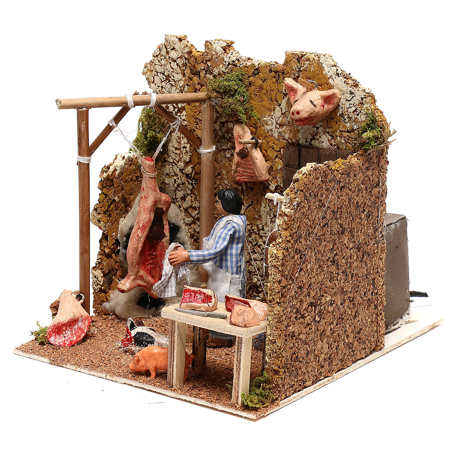 Neapolitan nativity scene butcher with movement 8 cm 4