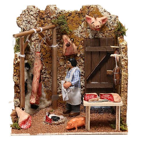 Neapolitan nativity scene butcher with movement 8 cm 1