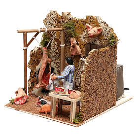 Neapolitan nativity scene butcher with movement 8 cm s2