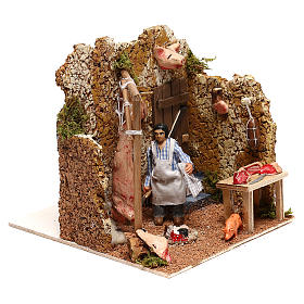 Neapolitan nativity scene butcher with movement 8 cm s3