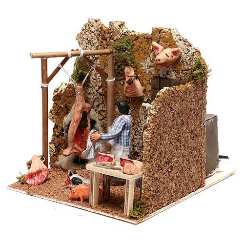 Neapolitan nativity scene butcher with movement 8 cm 2