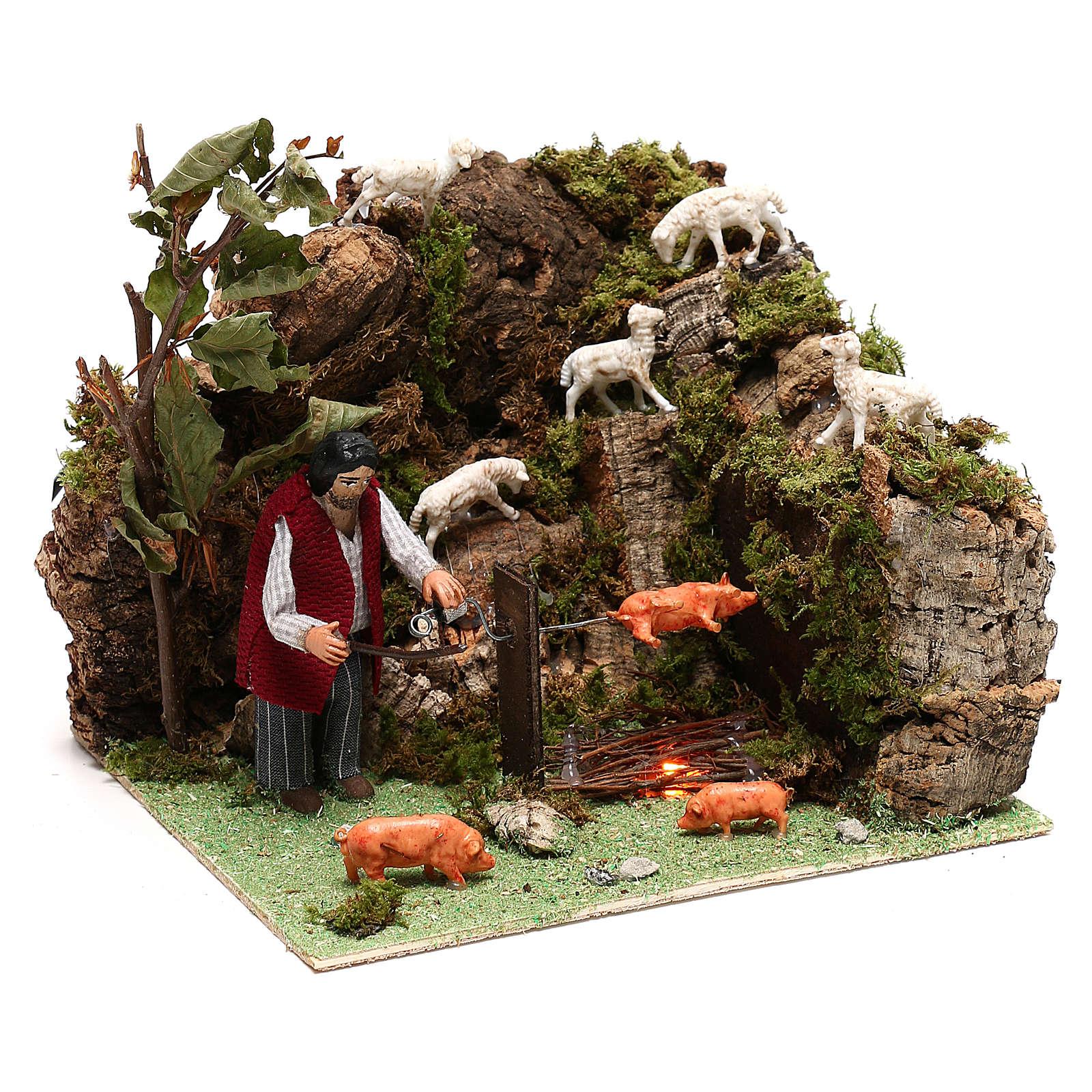 Pastor y cerdo en un asador movimiento belén 10 cm de Nápoles 4