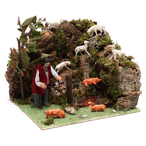 Pastor y cerdo en un asador movimiento belén 10 cm de Nápoles 3