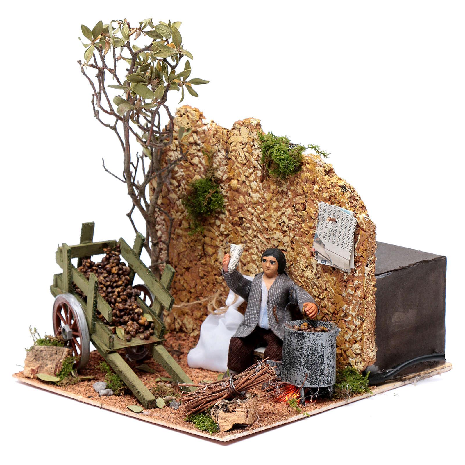 Neapolitan nativity scene statue chestnut seller 10 cm with movement 4