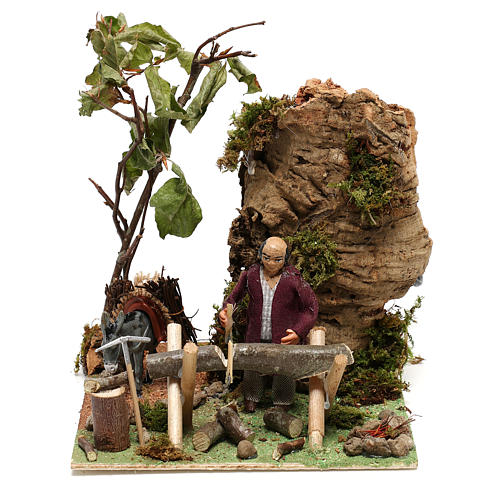 Neapolitan nativity scene statue woodcutter with movement 12 cm 1