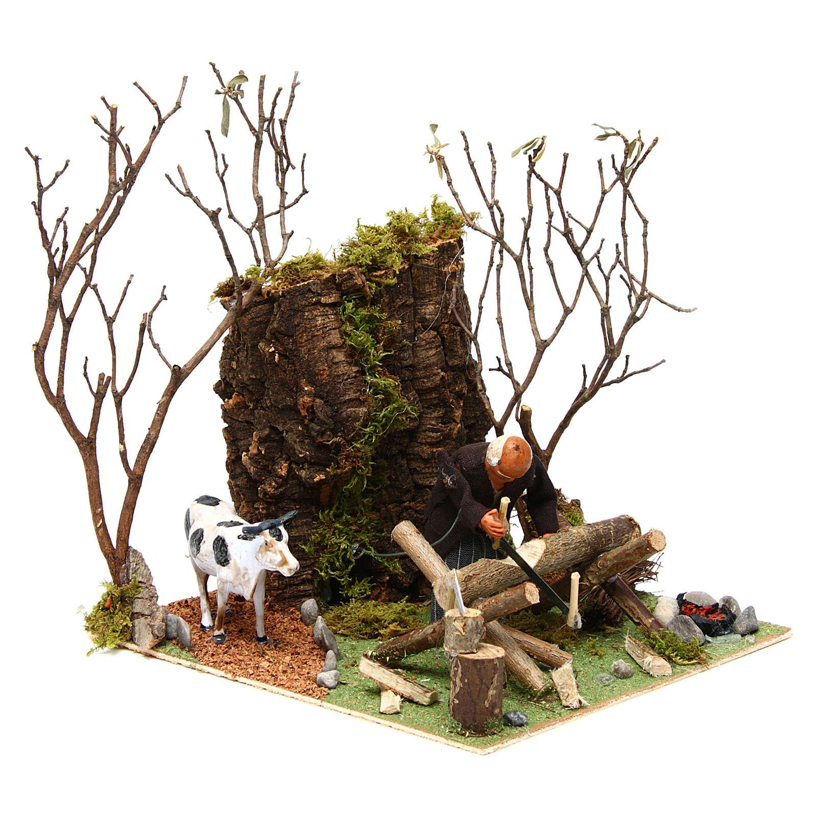 Boscaiolo taglia legna con movimento presepe di Napoli 12 cm 4