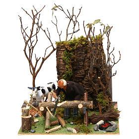 Boscaiolo taglia legna con movimento presepe di Napoli 12 cm s1