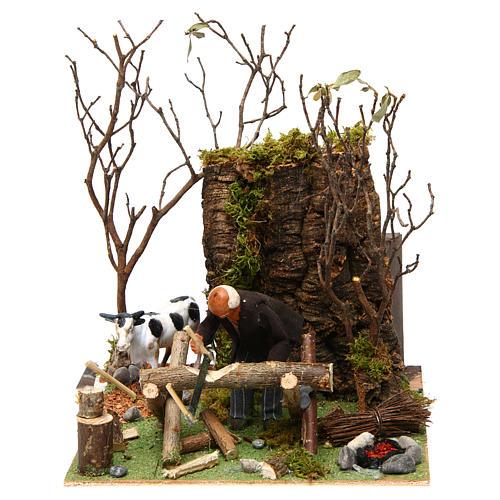 Boscaiolo taglia legna con movimento presepe di Napoli 12 cm 1