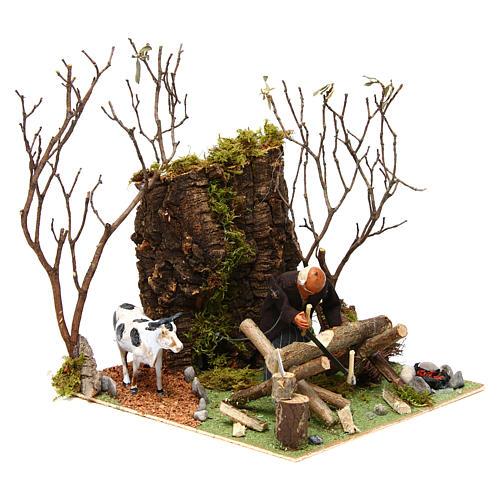 Boscaiolo taglia legna con movimento presepe di Napoli 12 cm 3