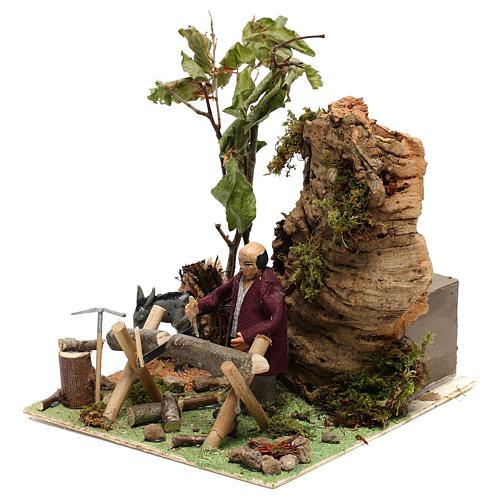 Boscaiolo taglia legna con movimento presepe di Napoli 12 cm 2
