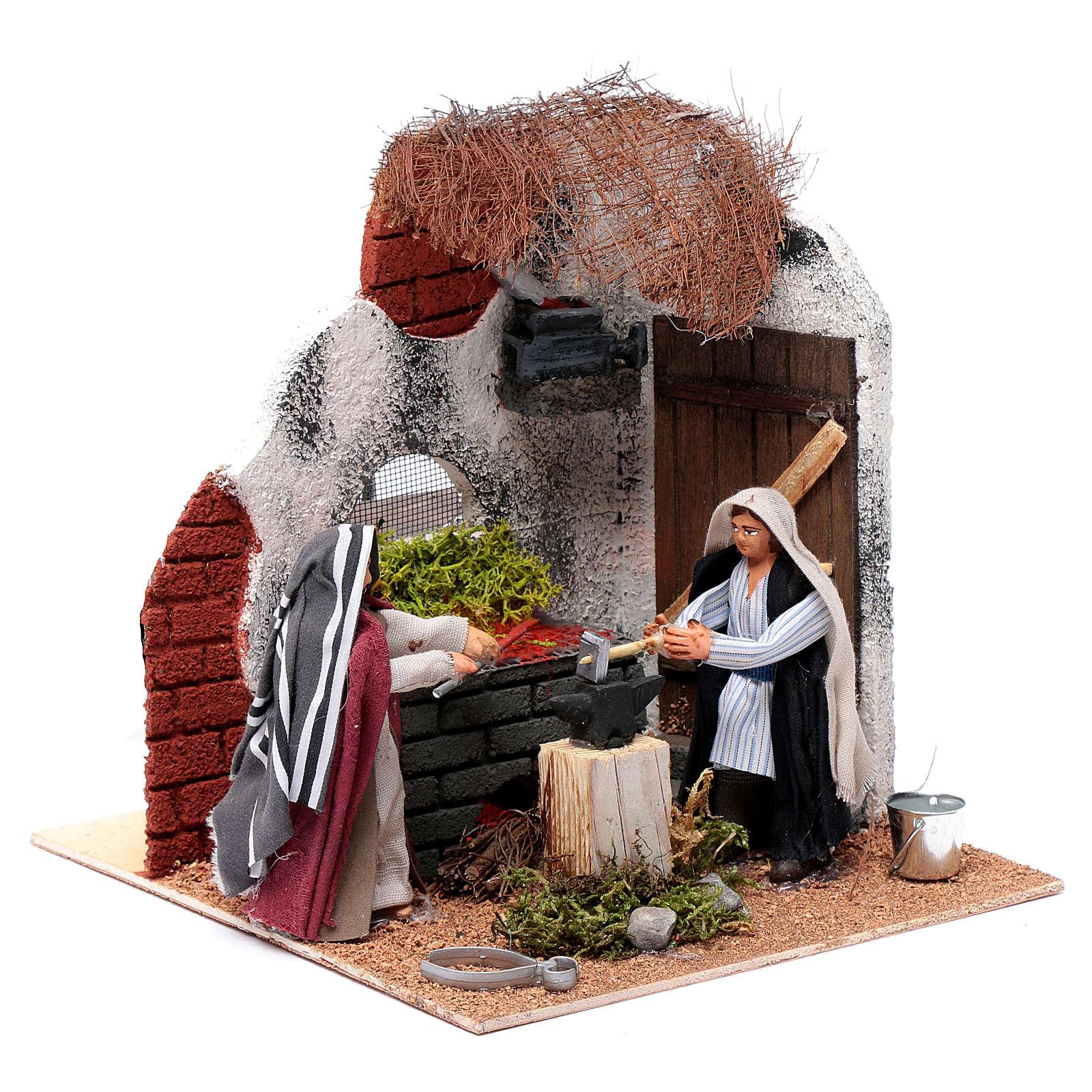 Neapolitan nativity scene moving blacksmith 10 cm 4
