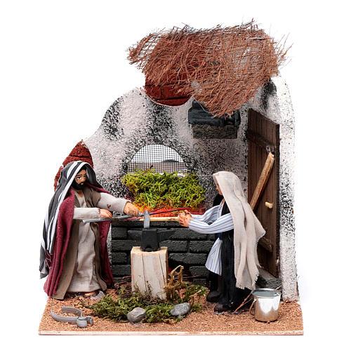 Neapolitan nativity scene moving blacksmith 10 cm 1