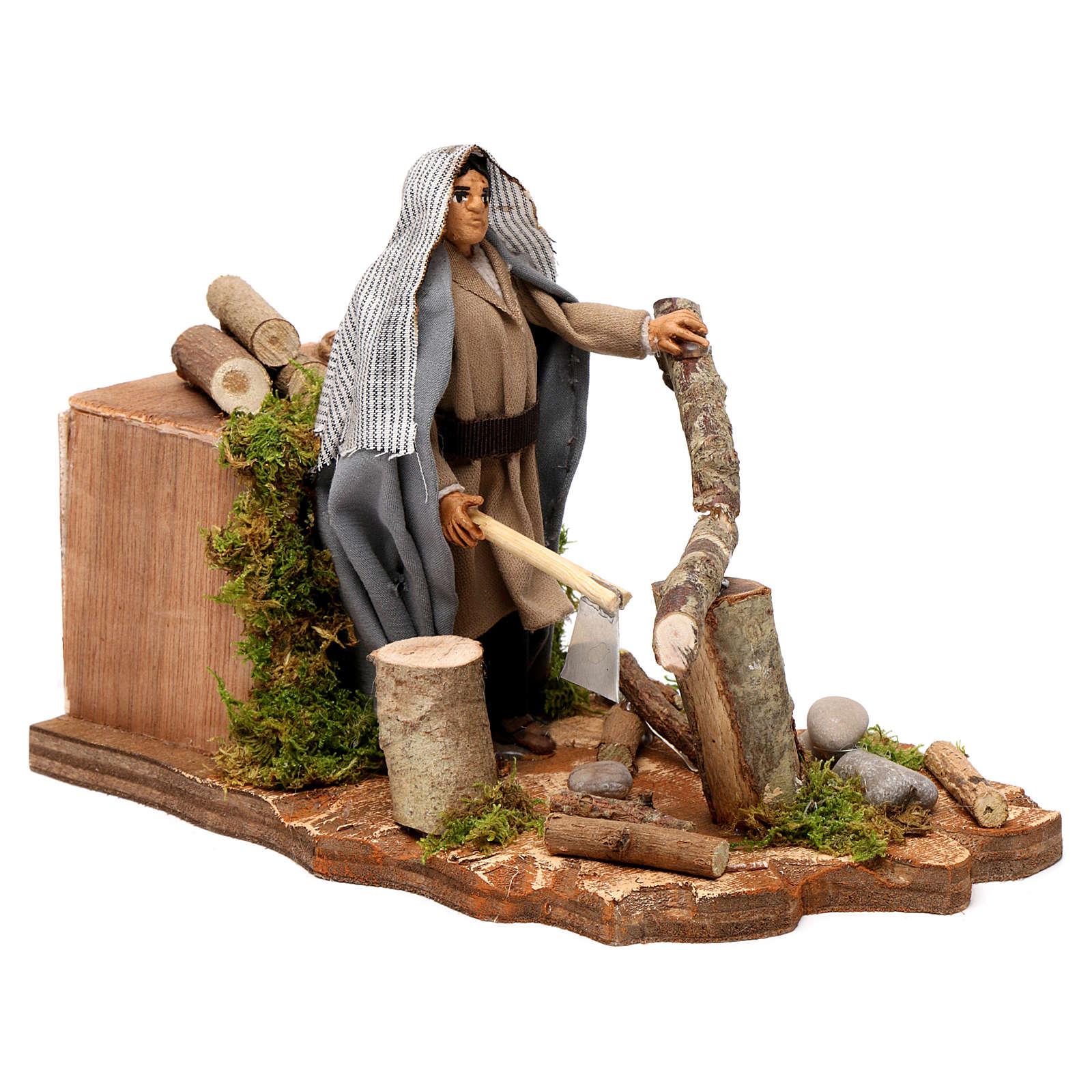 Neapolitan nativity scene wood cutter with ax 14 cm 4