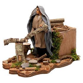 Neapolitan nativity scene wood cutter with ax 14 cm s2