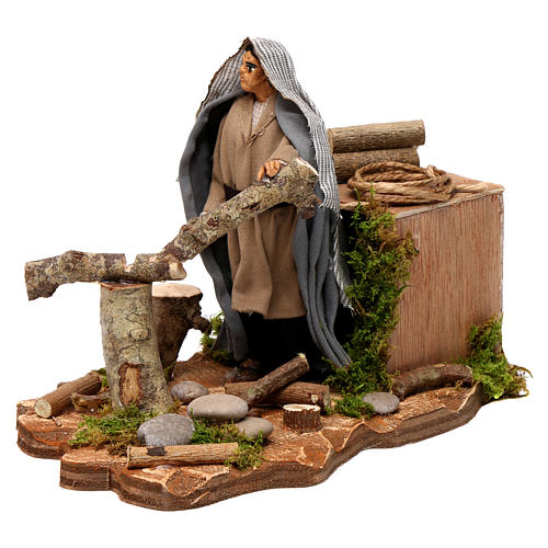 Neapolitan nativity scene wood cutter with ax 14 cm 2