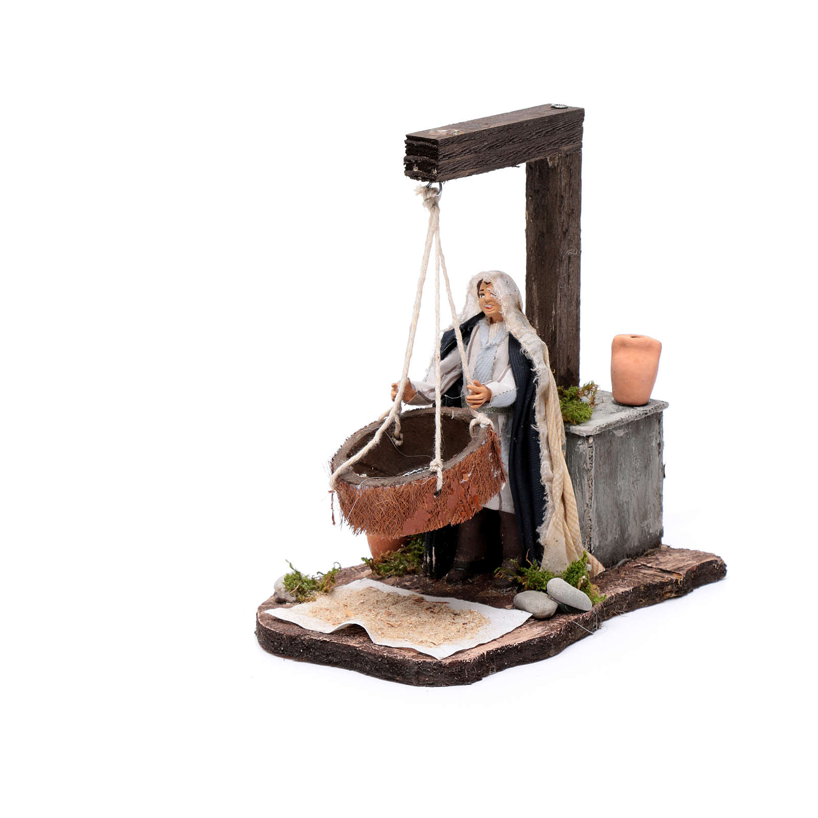 Neapolitan nativity scene moving woman sifting  14 cm 4