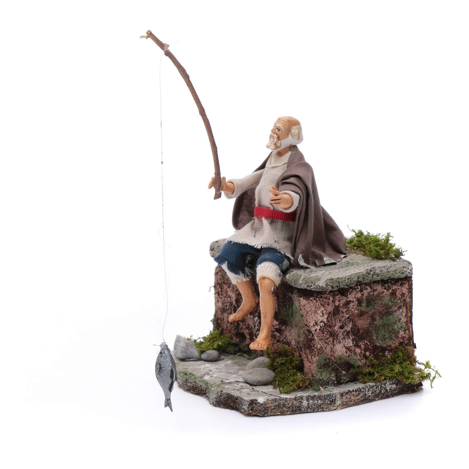 Neapolitan nativity scene fisherman with movement 10 cm 4