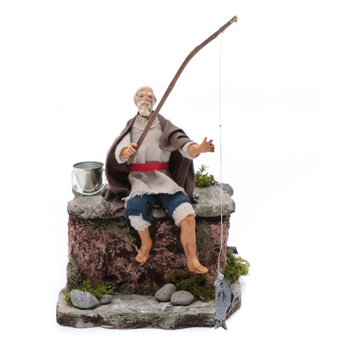 Neapolitan nativity scene fisherman with movement 10 cm 1