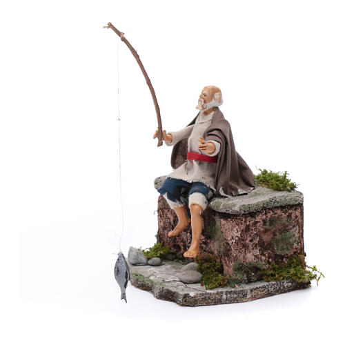 Neapolitan nativity scene fisherman with movement 10 cm 2