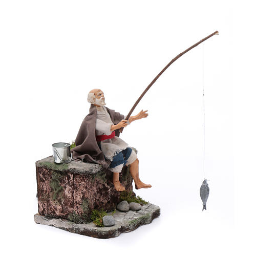 Neapolitan nativity scene fisherman with movement 10 cm 3