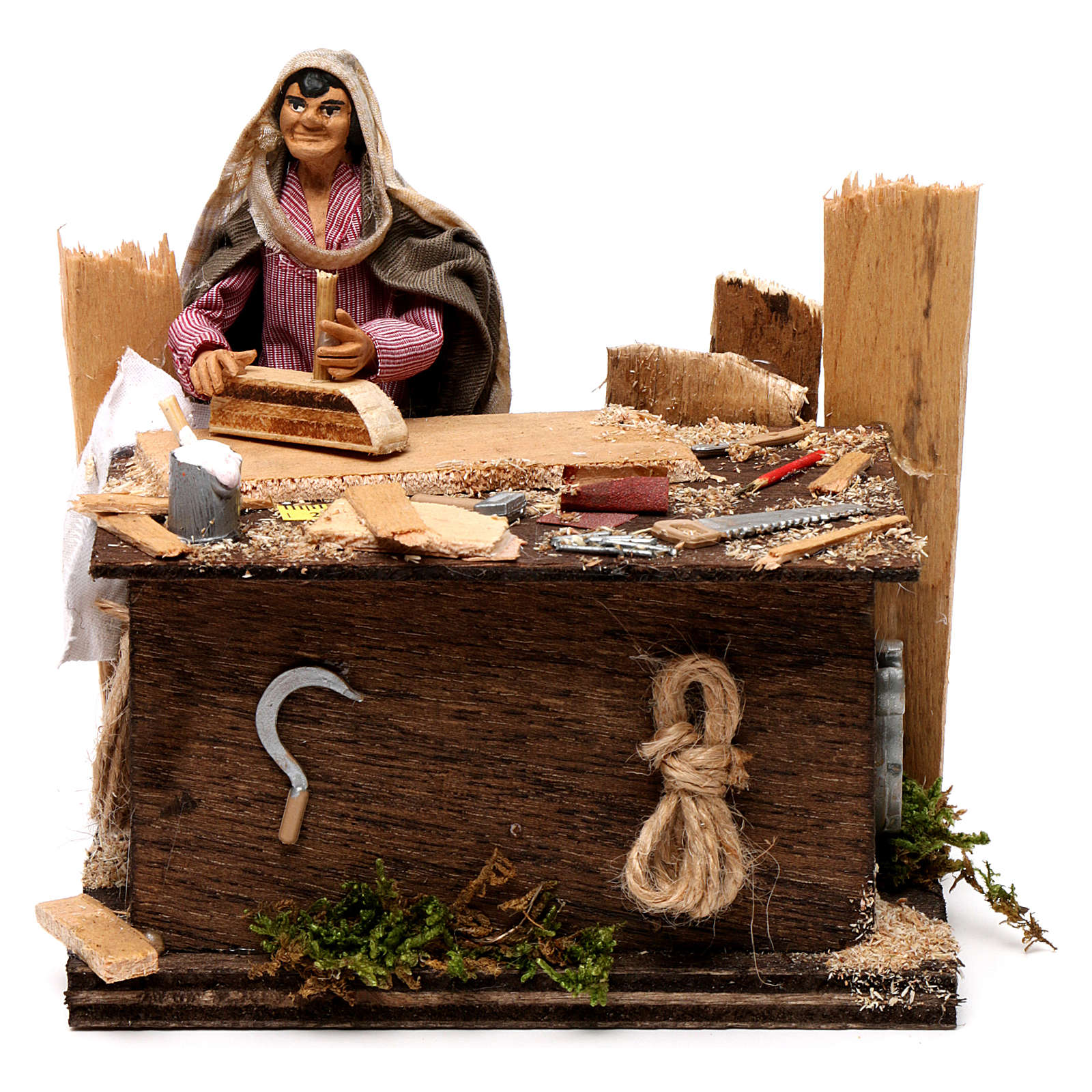 Neapolitan nativity scene woodcutter with movement 12 cm 4