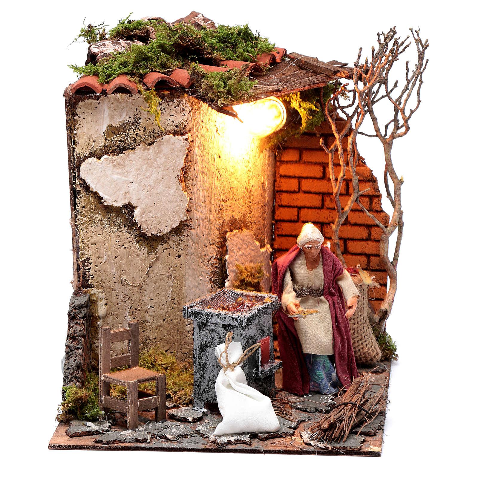 Neapolitan nativity scene elderly woman chestnut seller 10 cm with lights 4