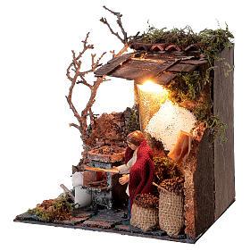 Neapolitan nativity scene elderly woman chestnut seller 10 cm with lights s3