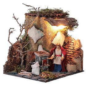 Neapolitan nativity scene elderly woman chestnut seller 10 cm with lights s4