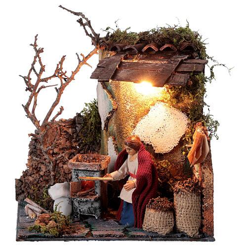 Neapolitan nativity scene elderly woman chestnut seller 10 cm with lights 1