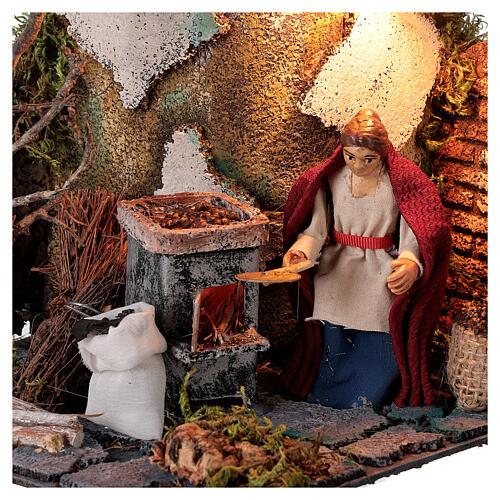 Neapolitan nativity scene elderly woman chestnut seller 10 cm with lights 2