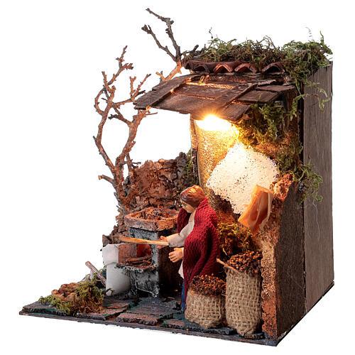 Neapolitan nativity scene elderly woman chestnut seller 10 cm with lights 3