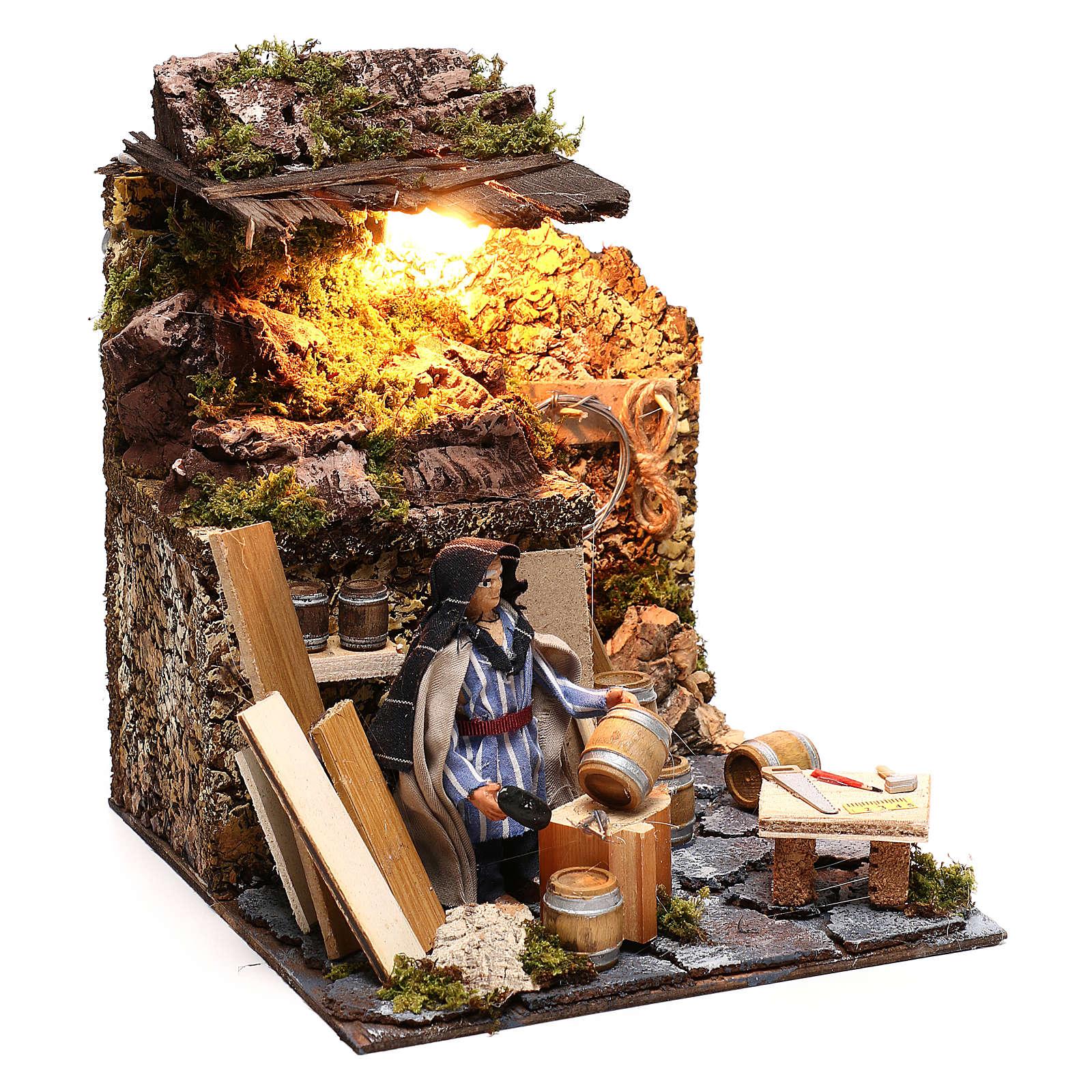 Neapolitan nativity scene moving statue barrel builder 12 cm 4