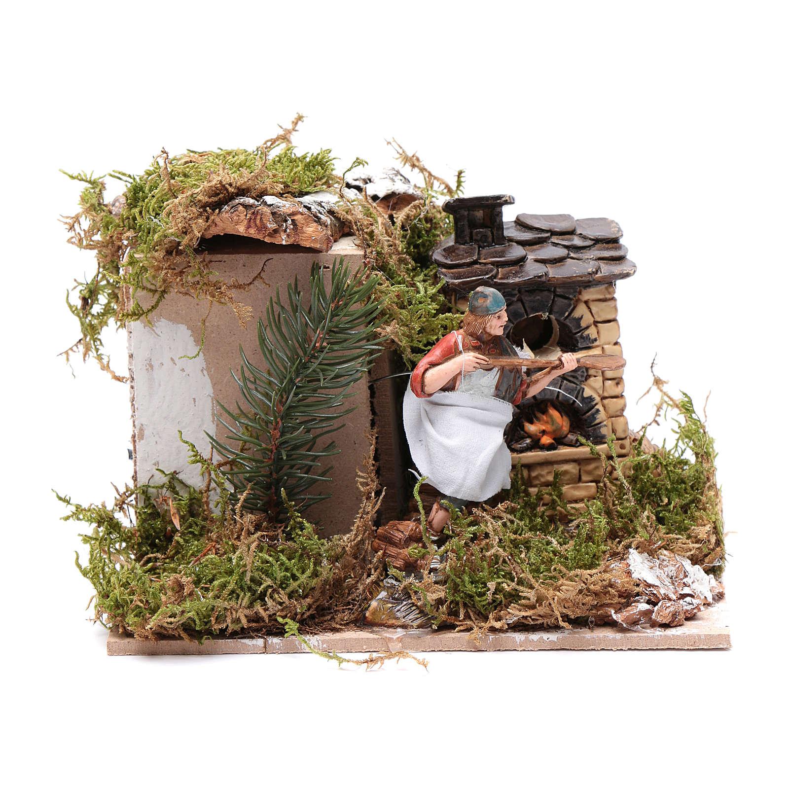 Piekarz przy piecu z ogniem 10 cm ruchoma figurka Moranduzzo styl neapolitański 4