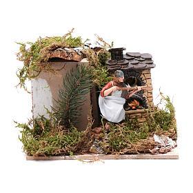 Piekarz przy piecu z ogniem 10 cm ruchoma figurka Moranduzzo styl neapolitański s1