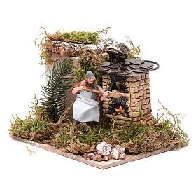Piekarz przy piecu z ogniem 10 cm ruchoma figurka Moranduzzo styl neapolitański s2