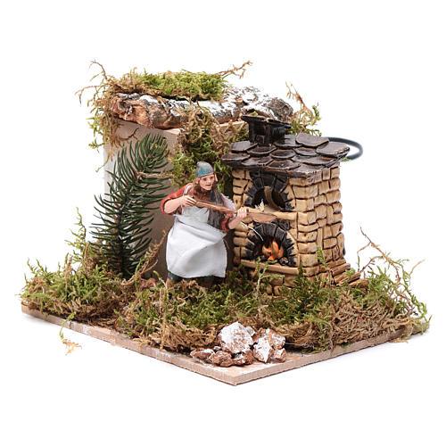 Piekarz przy piecu z ogniem 10 cm ruchoma figurka Moranduzzo styl neapolitański 2