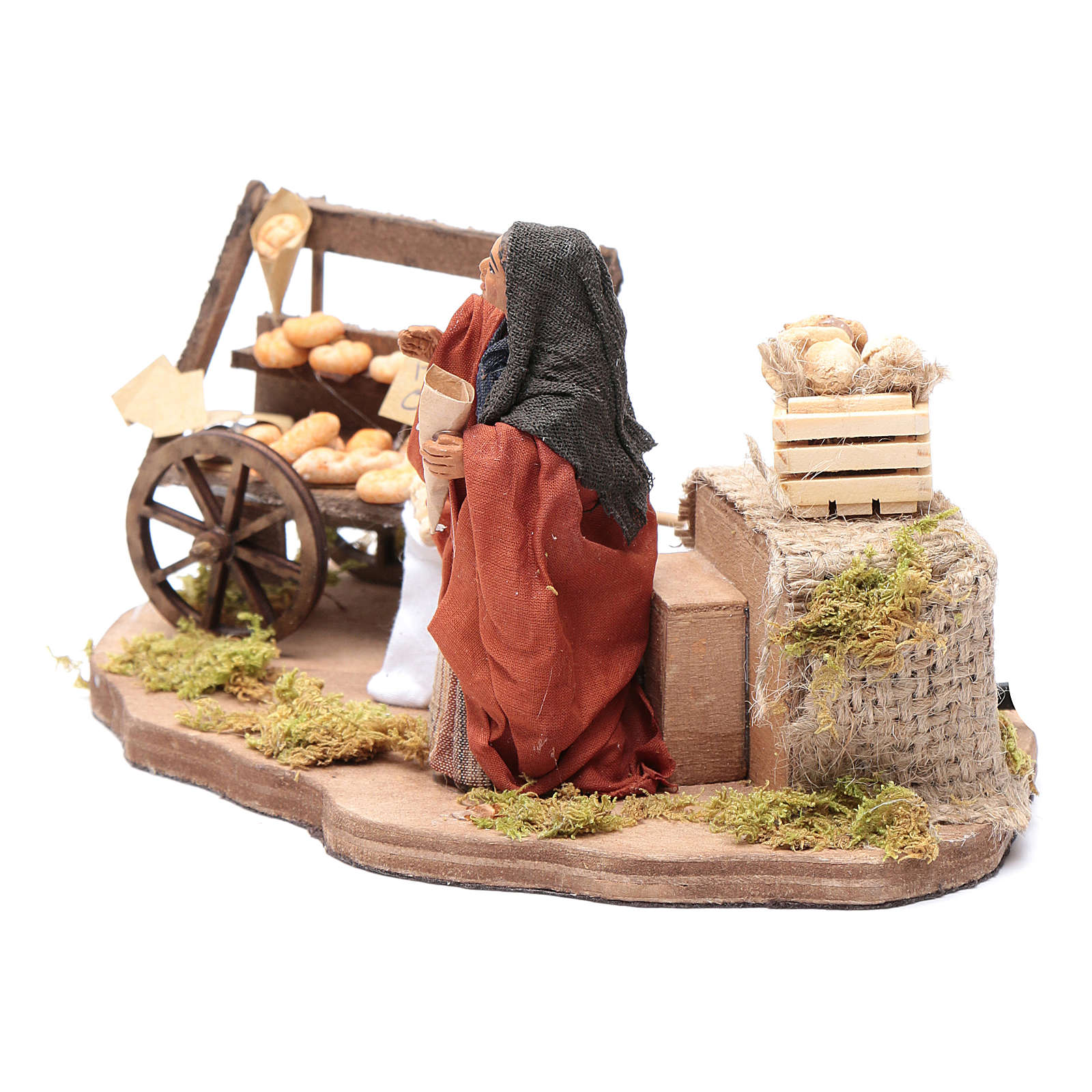Venditrice di pane movimento 10 cm presepe napoletano 4