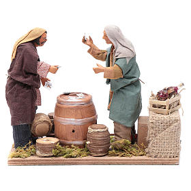 Neapolitan nativity scene card players 14 cm s1