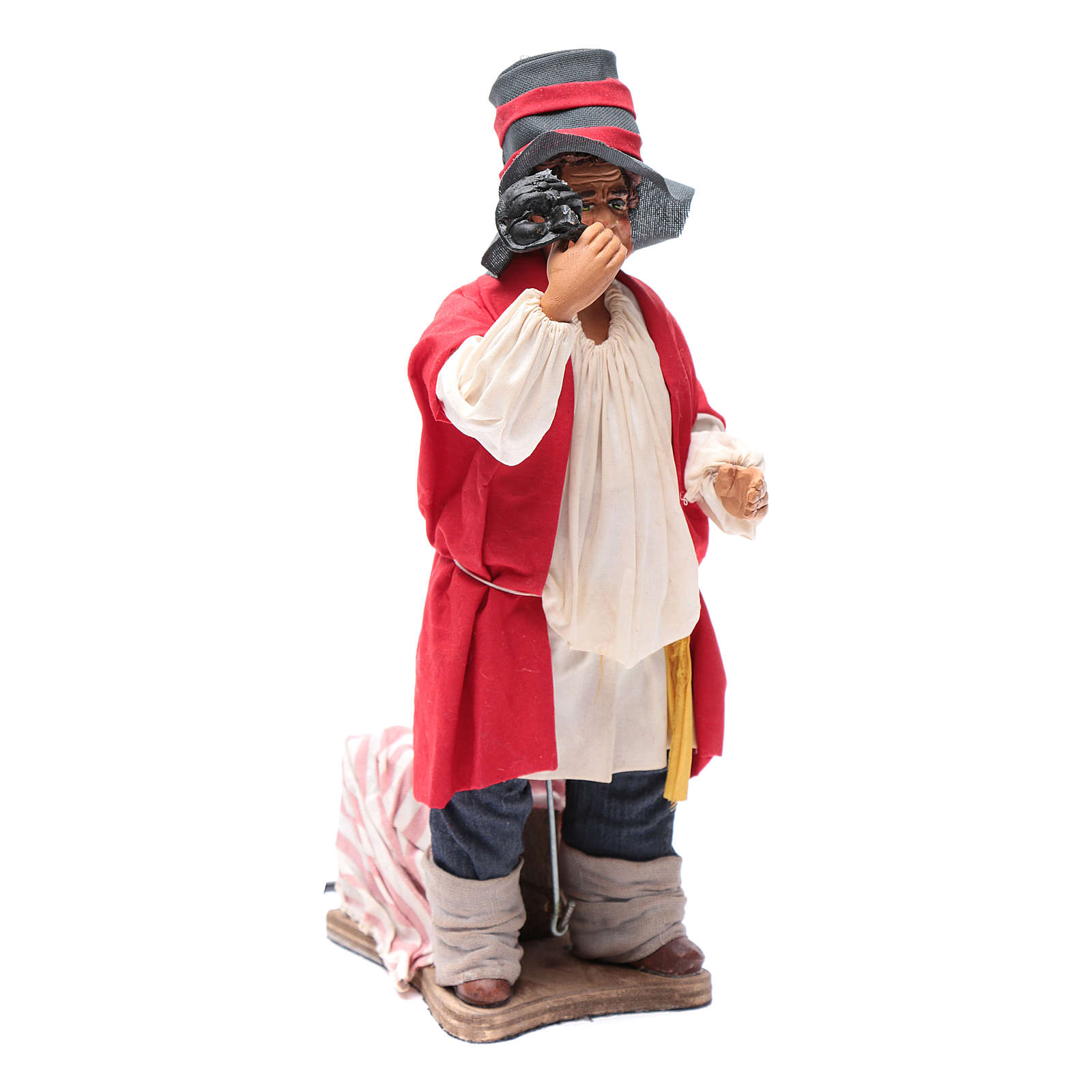 Neapolitan nativity scene moving man with a mask 24 cm 4