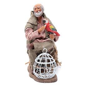 Uomo con pappagallo gabbietta movimento 24 cm presepe napoletano s1