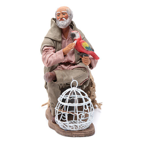 Uomo con pappagallo gabbietta movimento 24 cm presepe napoletano 1