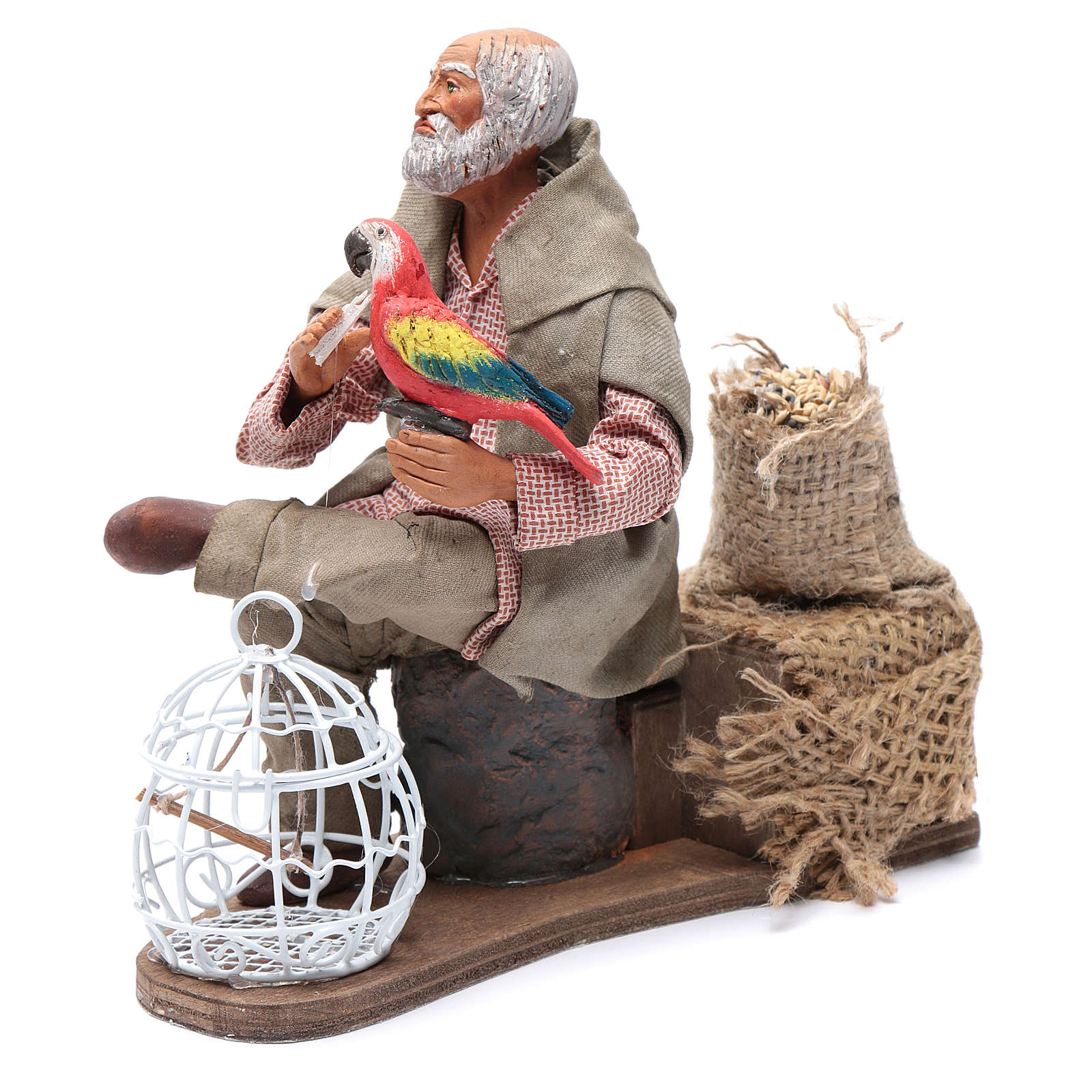 Neapolitan nativity scene moving man with parrot in cage 24 cm 4