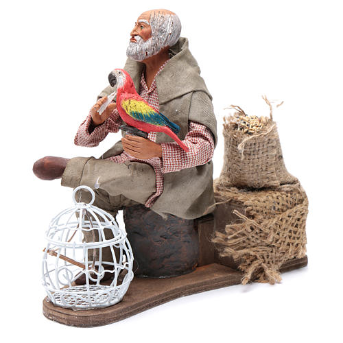 Neapolitan nativity scene moving man with parrot in cage 24 cm 2