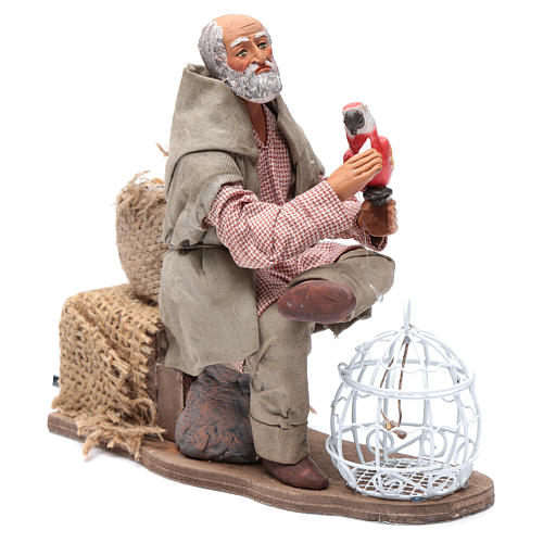 Neapolitan nativity scene moving man with parrot in cage 24 cm 3