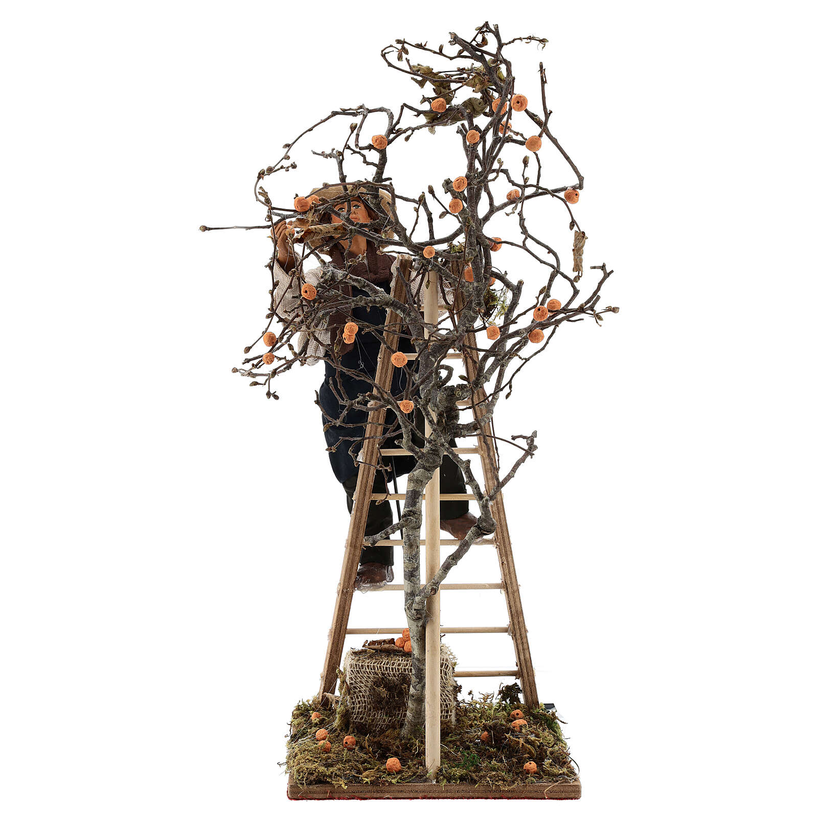 Neapolitan nativity scene man with tree and ladder in movement 24 cm 4