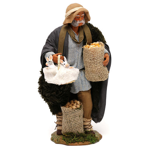 Neapolitan nativity scene man with tree and ladder in movement 24 cm 1