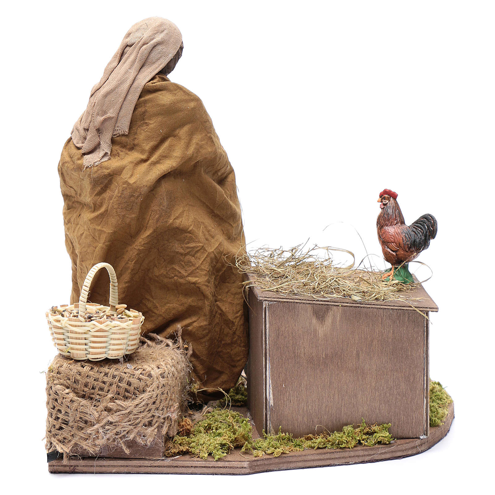 Donna che nutre galline movimento 30 cm presepe napoletano 4
